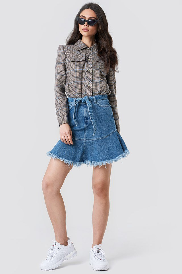 Belted Denim Skirt Outfit