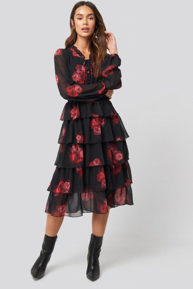 Tiered Flounce Sheer Dress Look