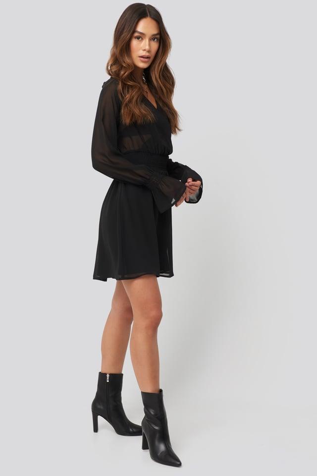 Smocked V-Neck Mini Dress Look