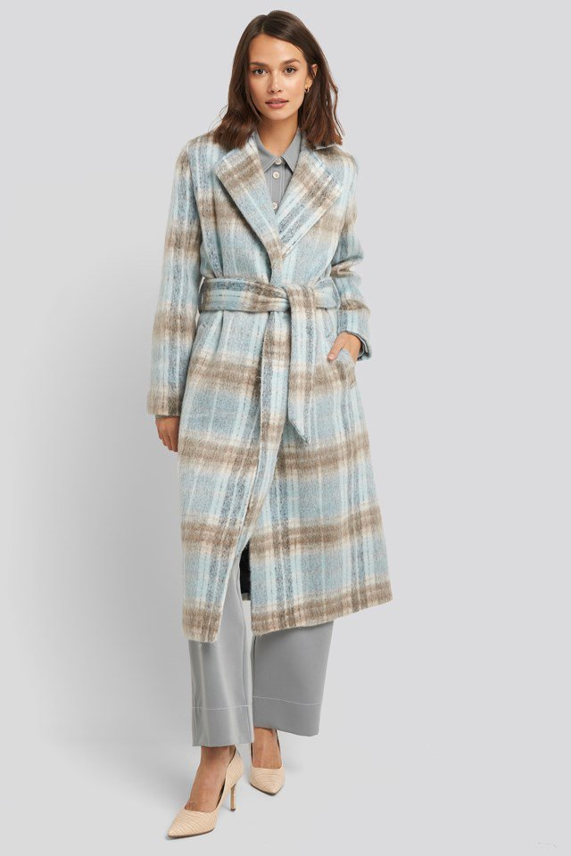 Blue Checked Coat Blue Outfit