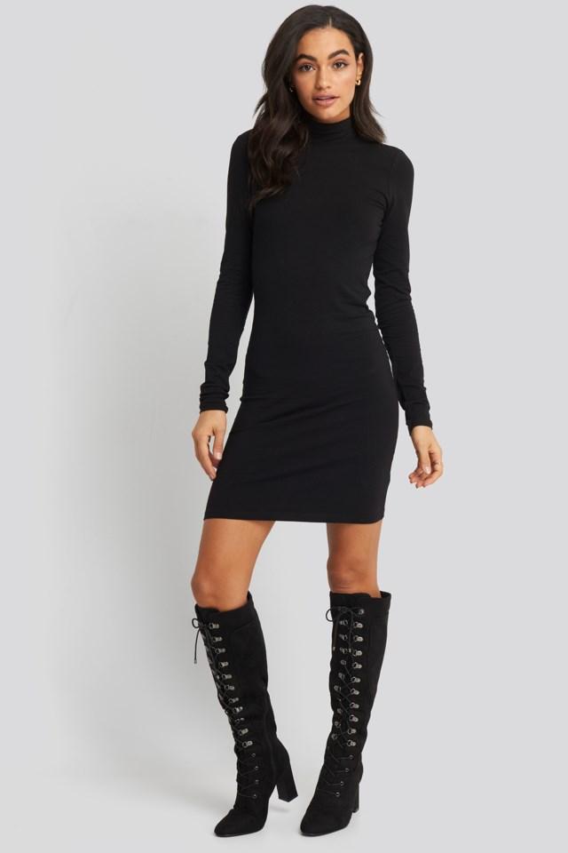 Open Back High Neck Dress Look