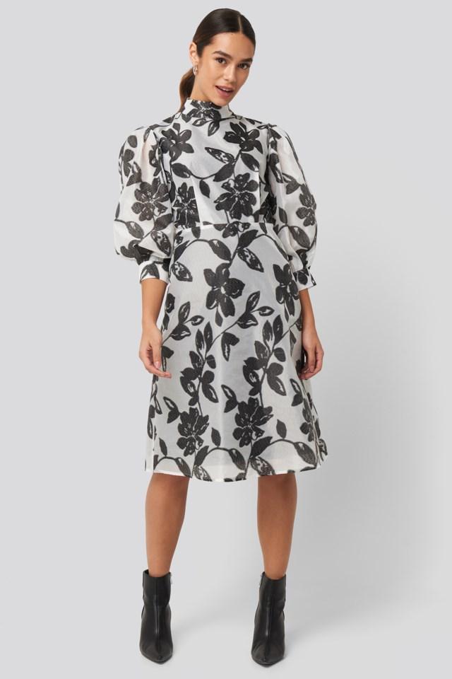 High Neck Puff Quarter Sleeve Dress Outfit.