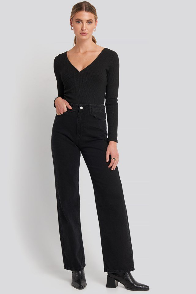 Ribbed Lurex Cross Over Bodysuit Outfit