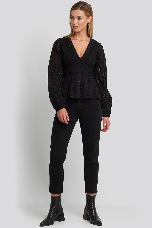 Anglaise Balloon Sleeve Blouse Black Outfit.