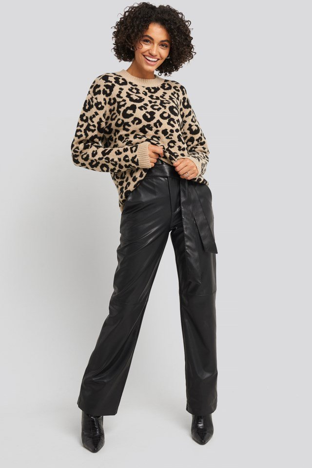 Animal Knitted Leo Sweater Outfit.