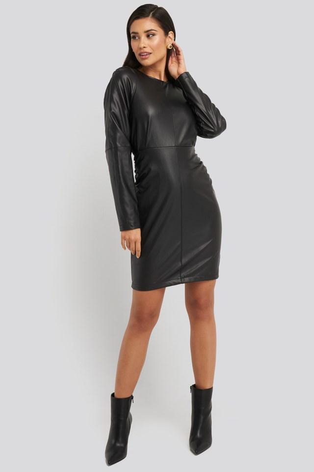 Puff Sleeve Soft Pu Dress Outfit