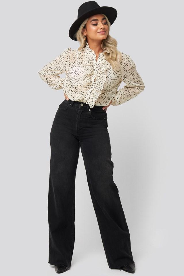 Flounce Placket Blouse Outfit