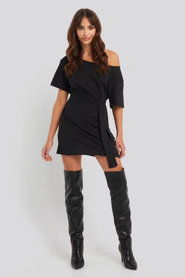 One Shoulder T-shirt Belted Dress Outfit