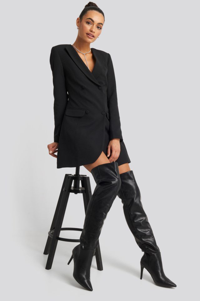 Double Breasted Blazer Dress Black Outfit