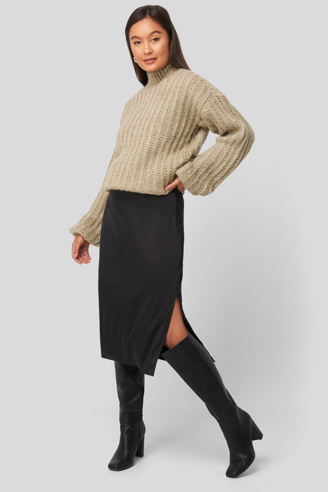 Andrea Badendyck High Neck Heavy Knitted Sweater Outfit