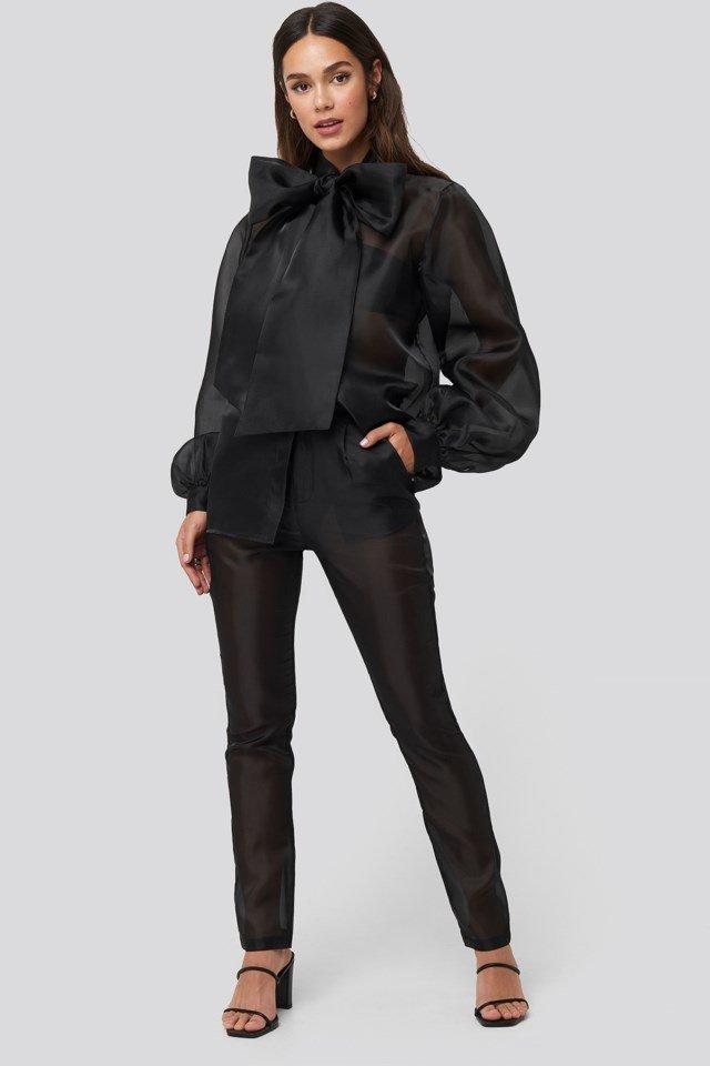 Organza Cigarette Pants Black Outfit