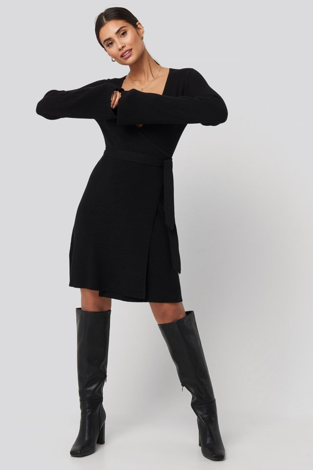 Overlap Rib Knitted Dress Black Outfit