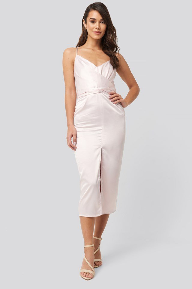 Cross Back Belted Dress Pink Outfit
