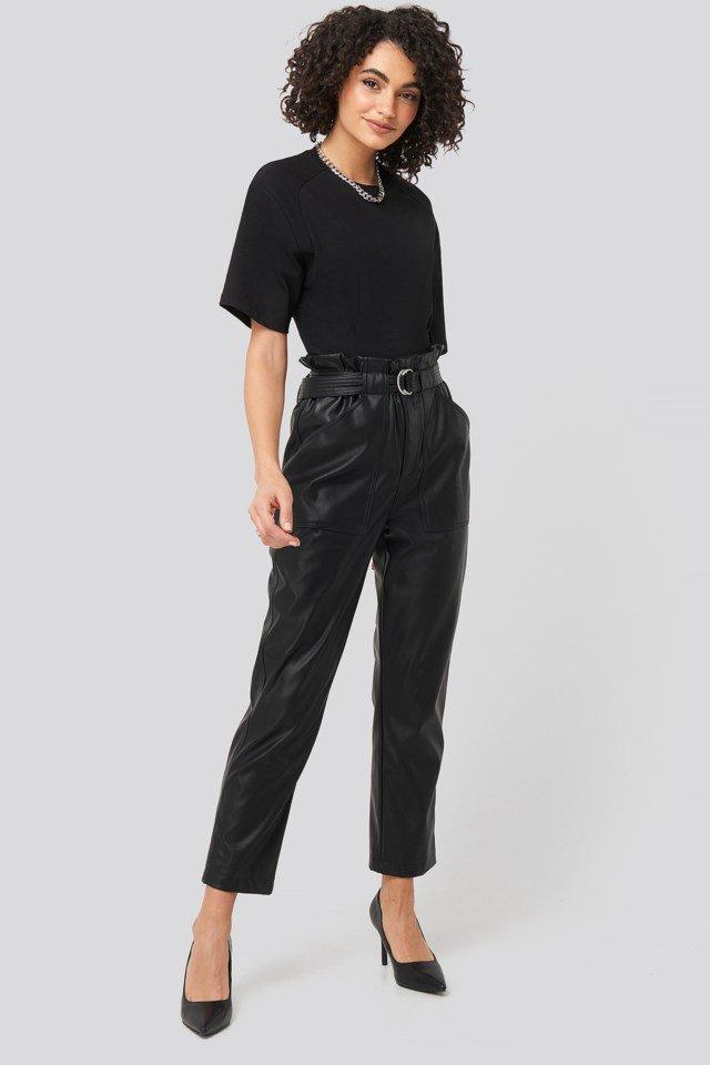 Waist Dart Detail T-shirt Black Outfit