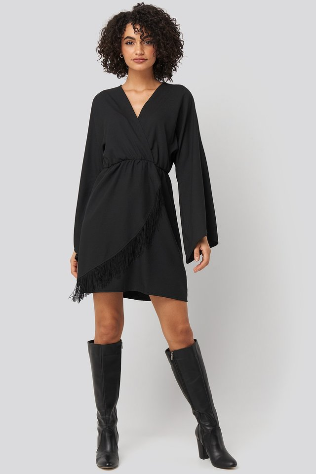 Mini Tasseled Dress Black Outfit