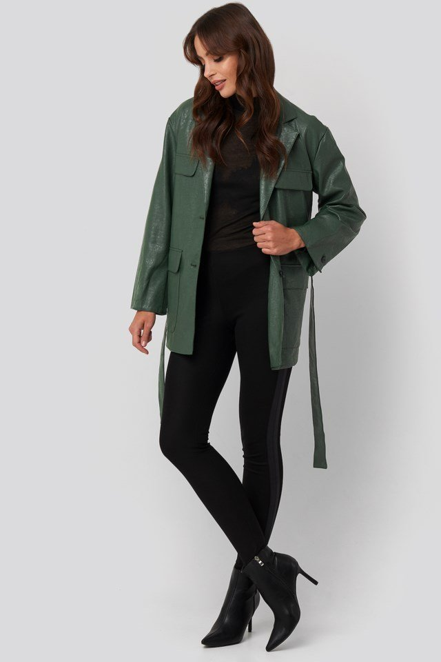 Tied Waist Pu Jacket Green Outfit