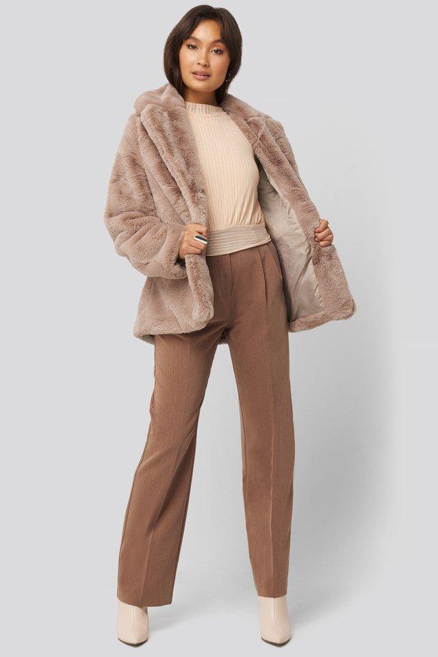 Colored Faux Fur Short Coat Pink Outfit