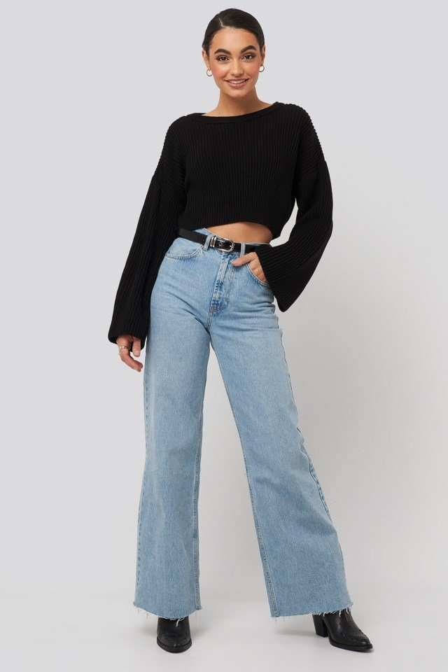 Black Cropped Long Sleeve Knitted Sweater