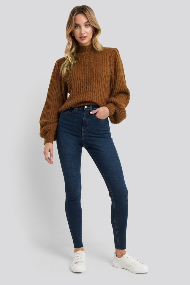 Super High Waist Skinny Jeans Blue Outfit