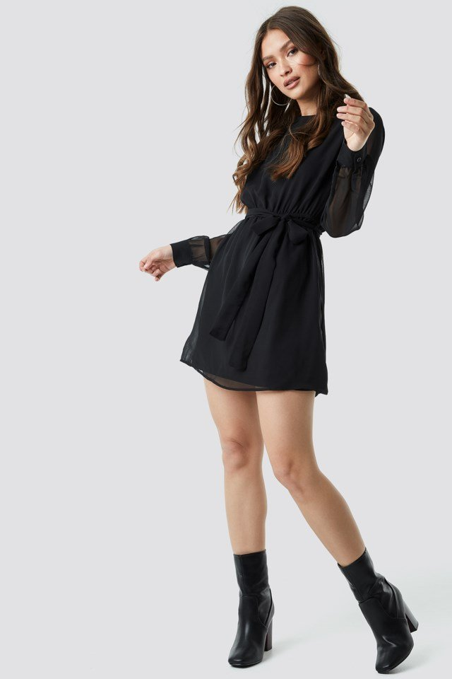 Chiffon Dress Black Outfit