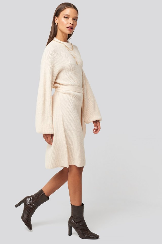 Tied Waist Knitted Dress White Outfit