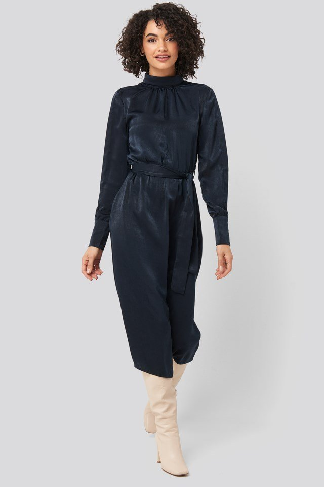 Waist Belted Midi Dress Blue Outfit