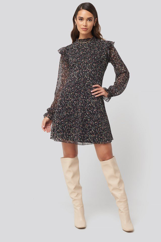 Patterned Mini Dress Black Outfit