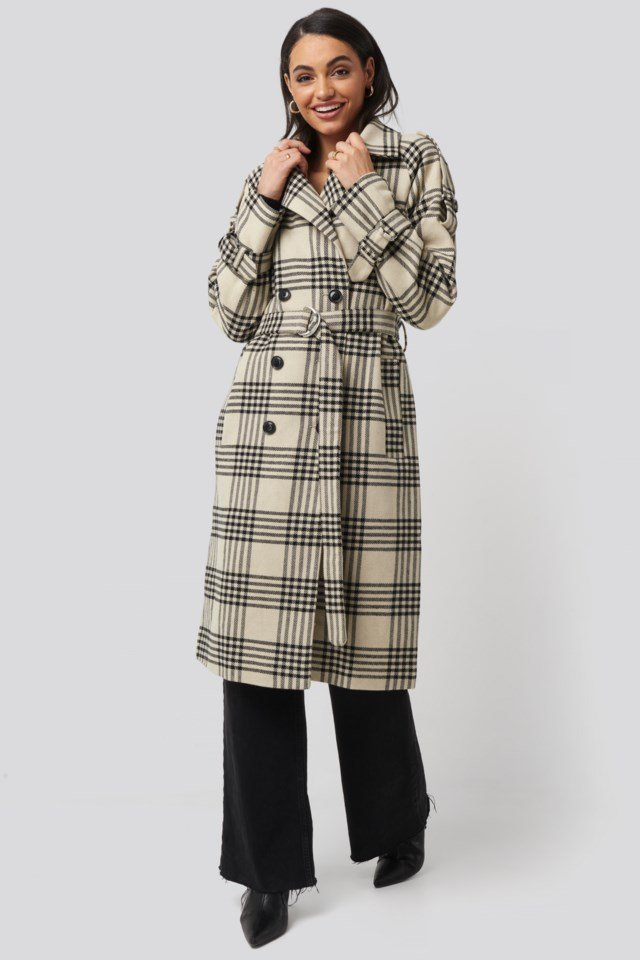 Checked Belted Coat Outfit