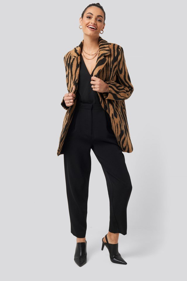 Printed Tiger Coat Outfit