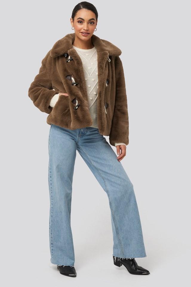 Faux Fur Duffle Jacket Outfit