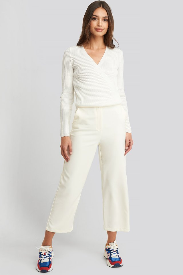 Wrap Knitted Top White Outfit