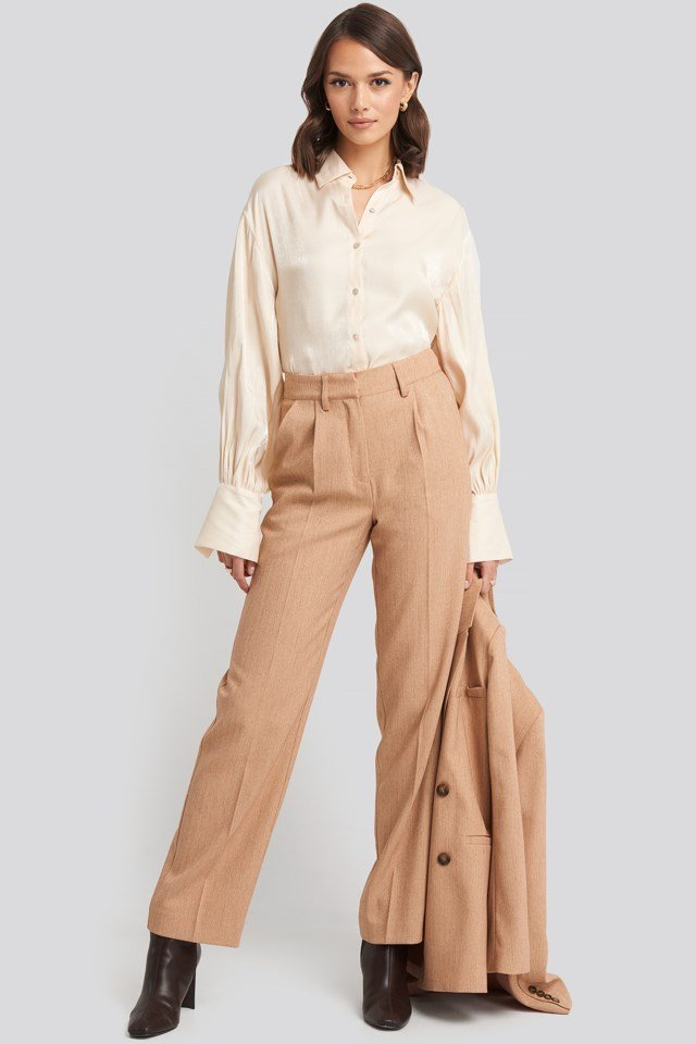 Mid Rise Creased Suit Pants Beige Outfit