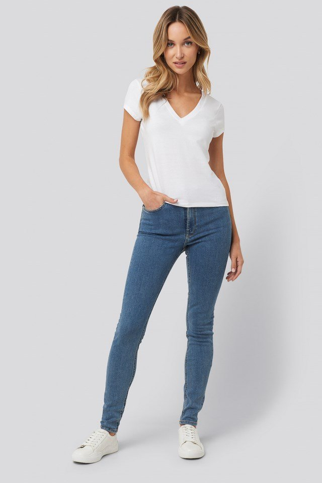 Deep V-Neck T-shirt Outfit