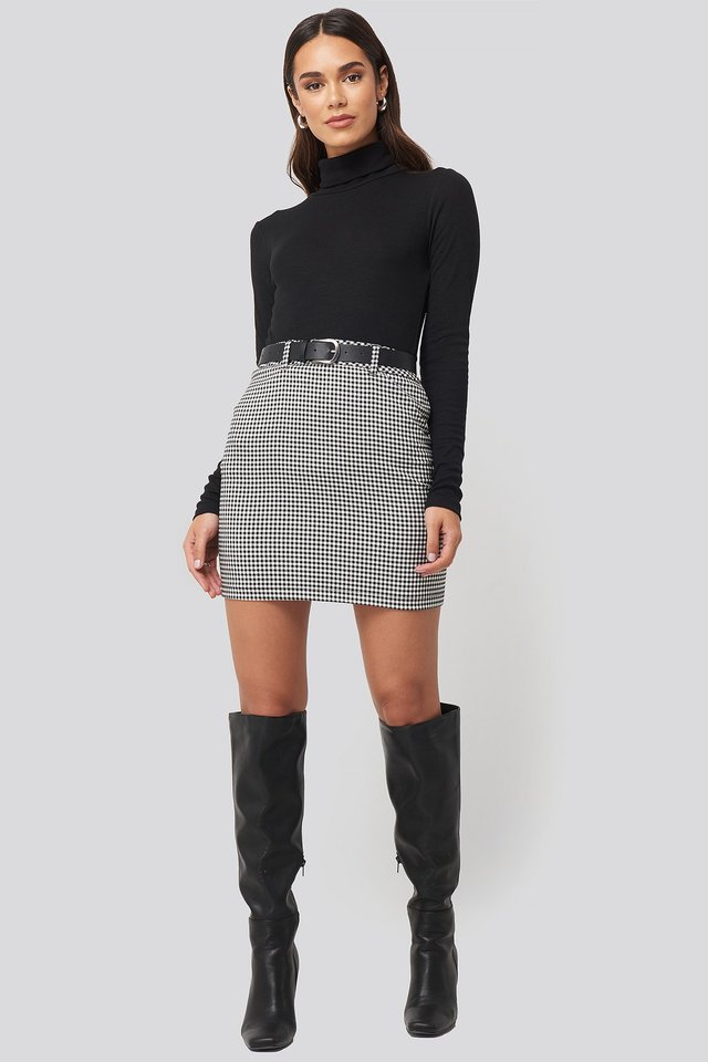 Checked Skirt Look