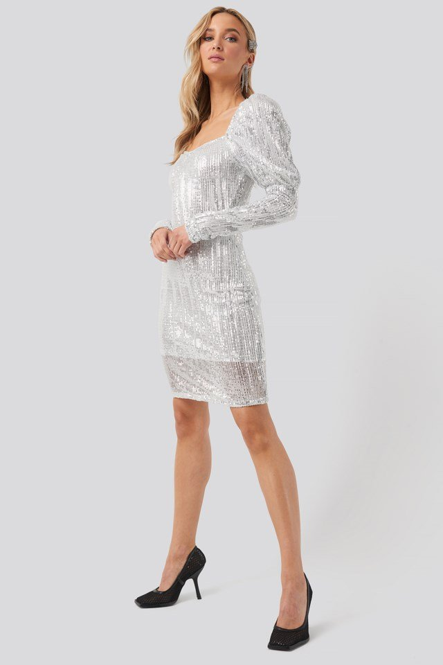 Puff Shoulder Sequin Mini Dress Silver Outfit