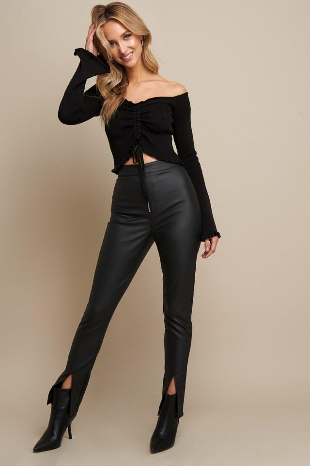 Drawstring Detail Top Black Outfit