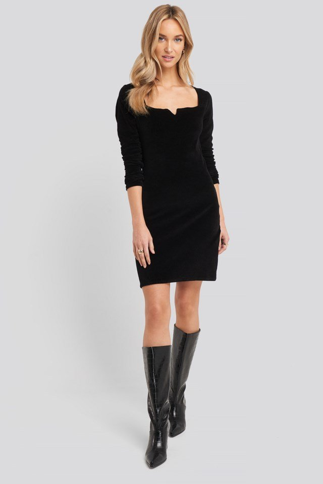 Velvet Knitted Dress Black Outfit