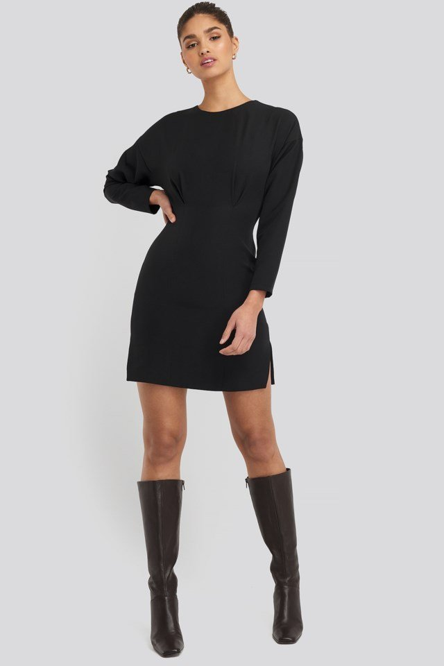 Waist Dart Detail Mini Dress Outfit