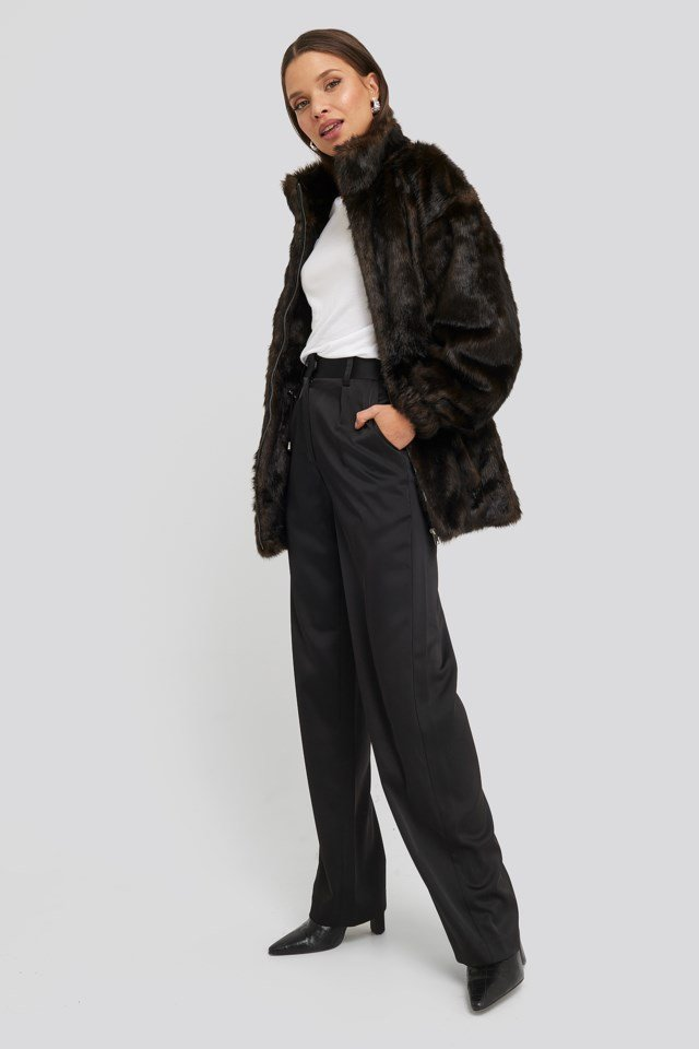 Drawstring Faux Fur Jacket Outfit