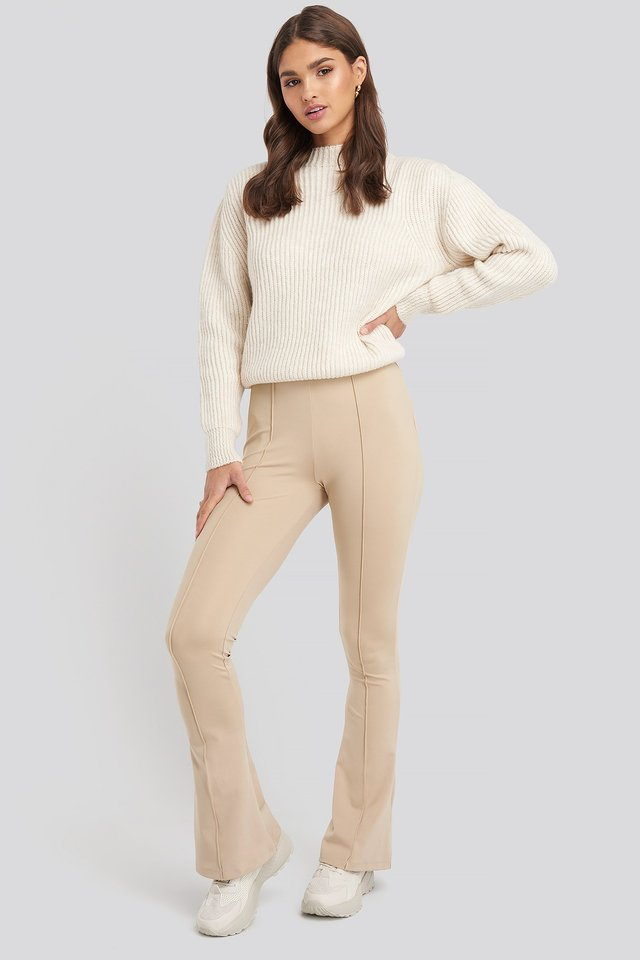 Beige Flare Ribbed Pants
