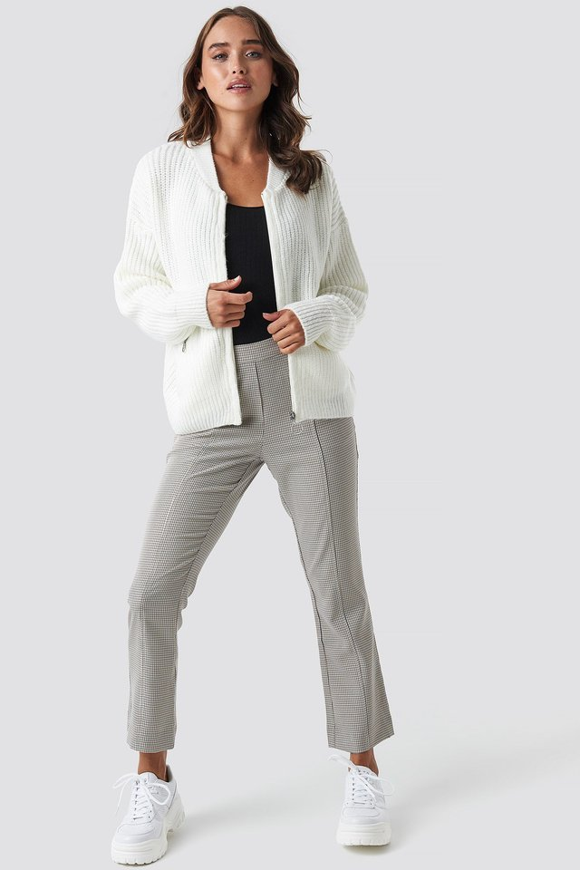 Zipper Cardigan White Outfit
