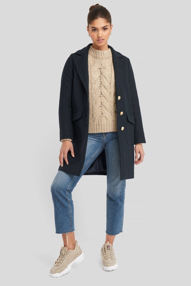 Button Detailed Coat Blue Outfit