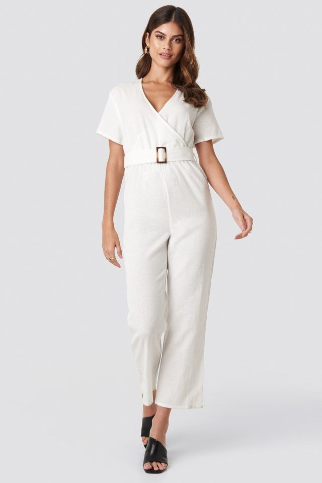 Overlapped Belted Linen Look Jumpsuit Outfit
