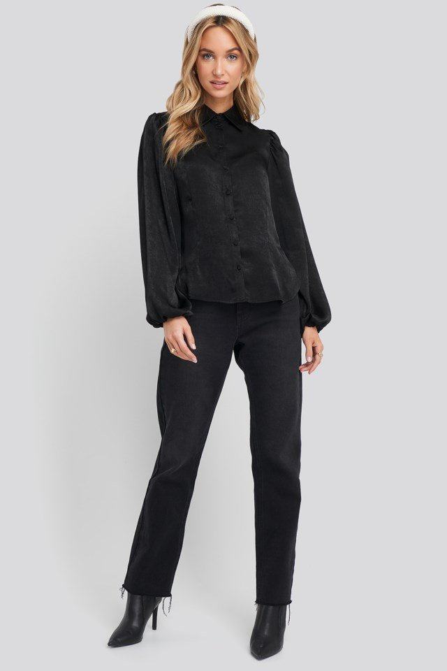 Black Peasant Sleeve Button Up Satin Blouse