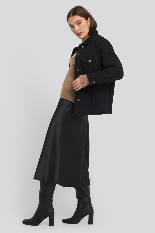 Raw Hem Long Denim Jacket Outfit