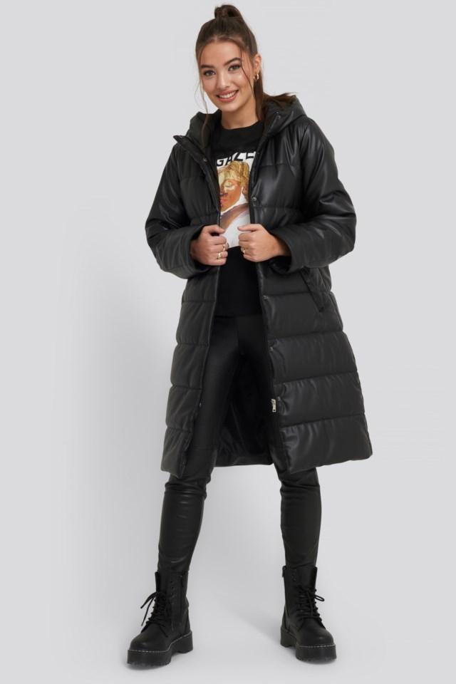 Long PU Belted Jacket