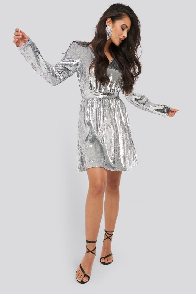 Silver Long Sleeve Sequin Dress