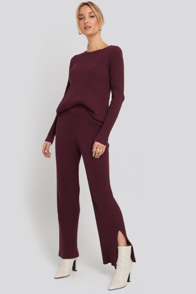 Recycled Split Hem Ribbed Knit Pants Outfit
