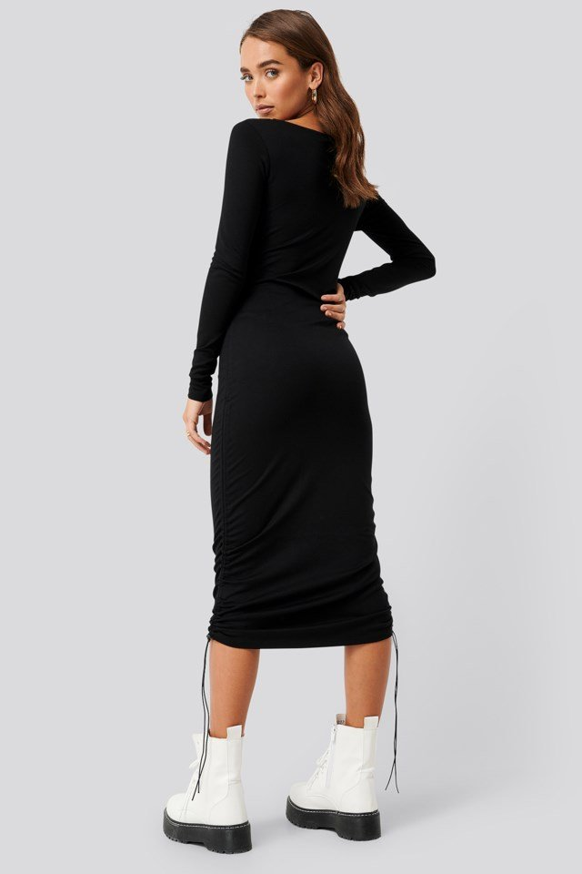 Side Tie Ruched Long Sleeve Dress Black Outfit