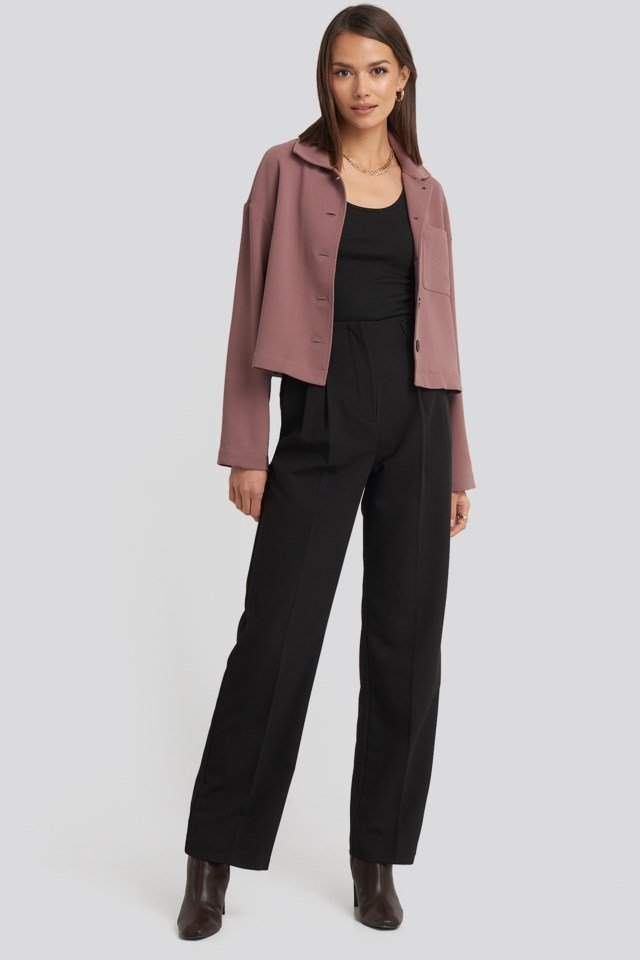 High Waist Darted Pants Outfit.